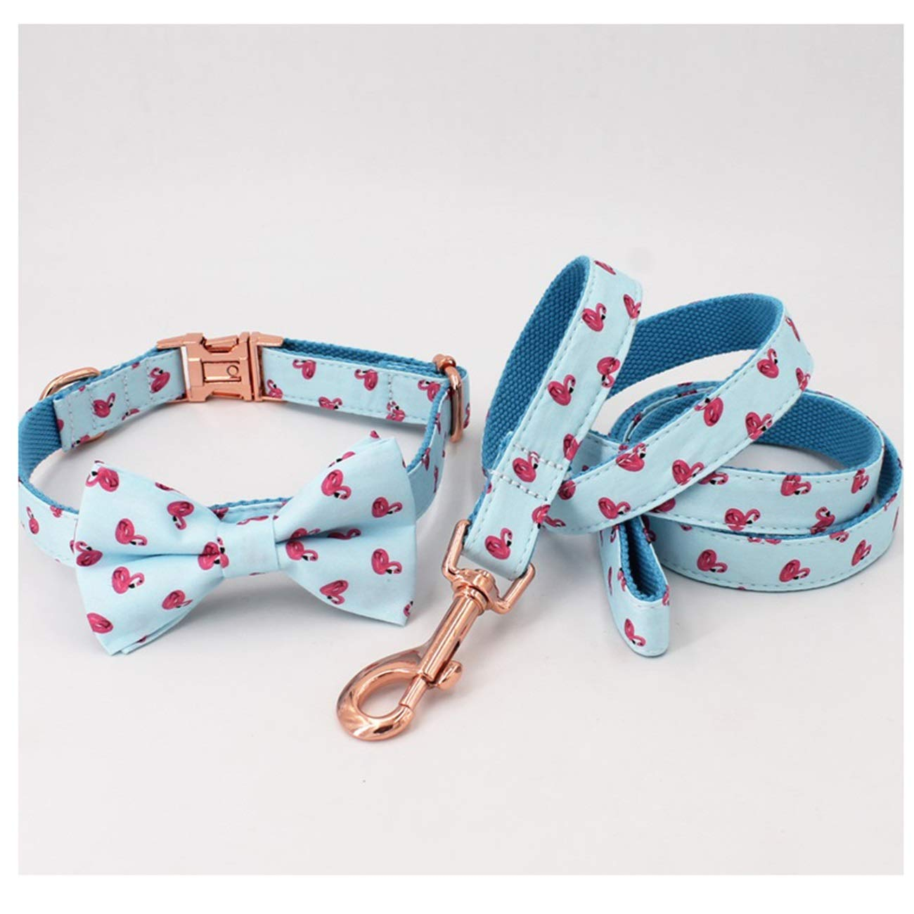 Collar bow leash XS(15-25cm Length) collar bow leash XS(15-25cm Length) Beatybag Summer Flamingo Dog Collar and Leash Set with Bow Tie for Big and Small Dog Cotton Fabric Collar pink gold Metal Buckle Collar Bow Leash XS(15-25cm Length)