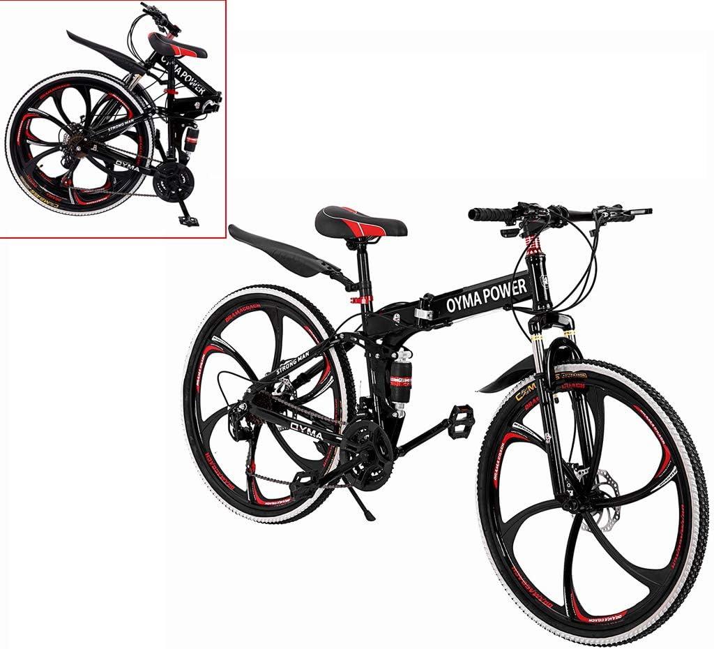 26 Inch Folding Mountain Bikes Double Disc Brake Bicycles 21 Speed High Carbon Steel Dual Suspension Frame Mountain Bike US Fast, Black Outroad Mountain Bike