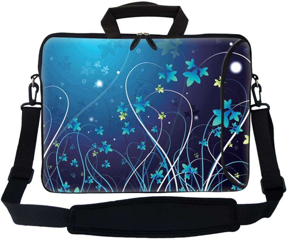 "Meffort Inc 17 17.3 inch Neoprene Laptop Bag Sleeve with Extra Side Pocket, Soft Carrying Handle & Removable Shoulder Strap for 16"" to 17.3"" Size Notebook Computer - Blue Swirl Design"