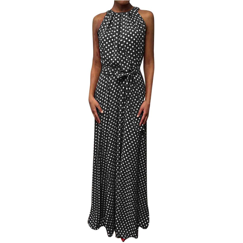 HJuyYuah Women Casual Summer Dot Printed Sleeveless Beach Dress Sundress Black by HJuyYuah