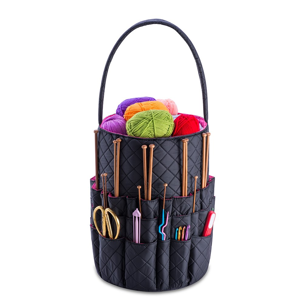 DeNOA Quilted Knitting and Sewing Storage Bag - Yarn and Needle Accessory Bucket with Inner Pockets - Midnight Black
