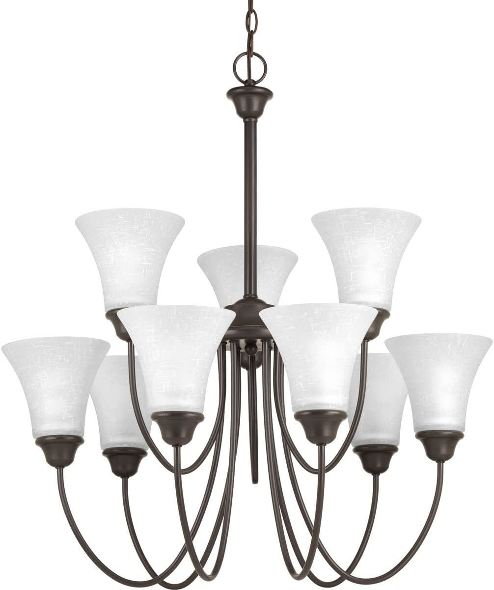 Progress Lighting P4743-20 Transitional Nine Light Chandelier from Tally Collection Dark Finish, Antique Bronze
