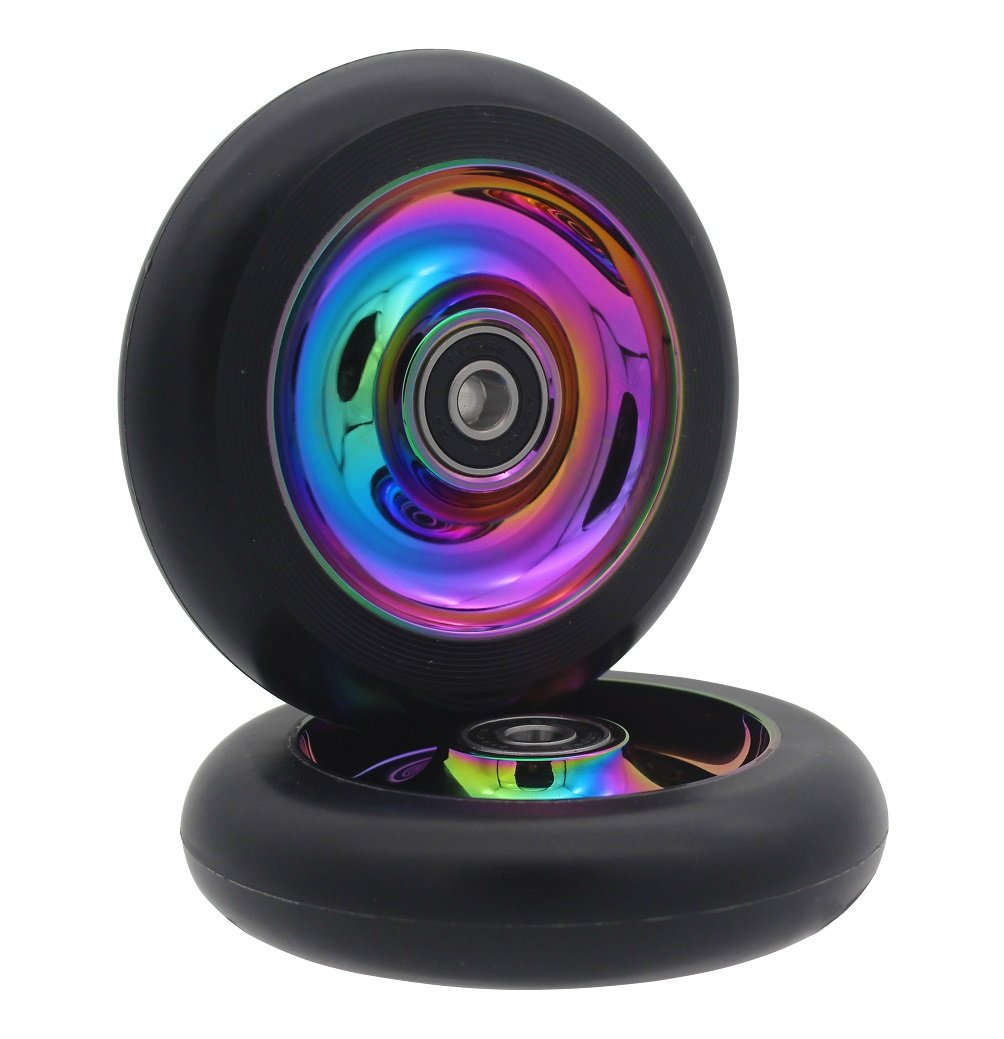aibiku 100mm Pro Stunt Scooter Wheel with Abec-9 Bearings Fit for Fuzion/Envy/MGP/Lucky TFOX/Vokul Pro Scooters - 2PCS(Colorful)