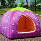 HuiSiFang Strawberry Pet Nest Soft Warm Lovely Dog Cat Collapsible House Bed