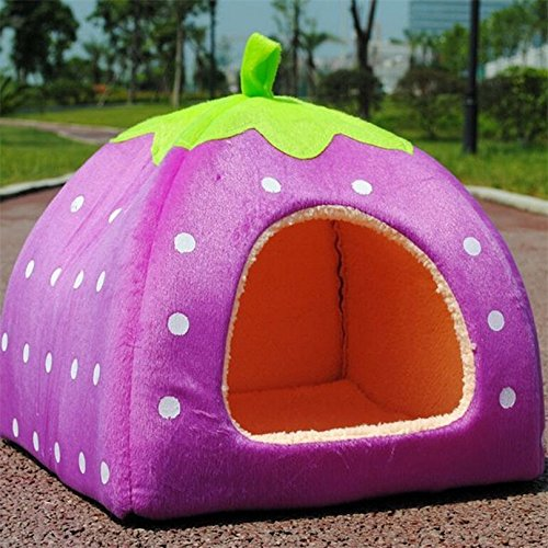 HuiSiFang Strawberry Pet Nest Soft Warm Lovely Dog Cat Collapsible House Bed by HuiSiFang