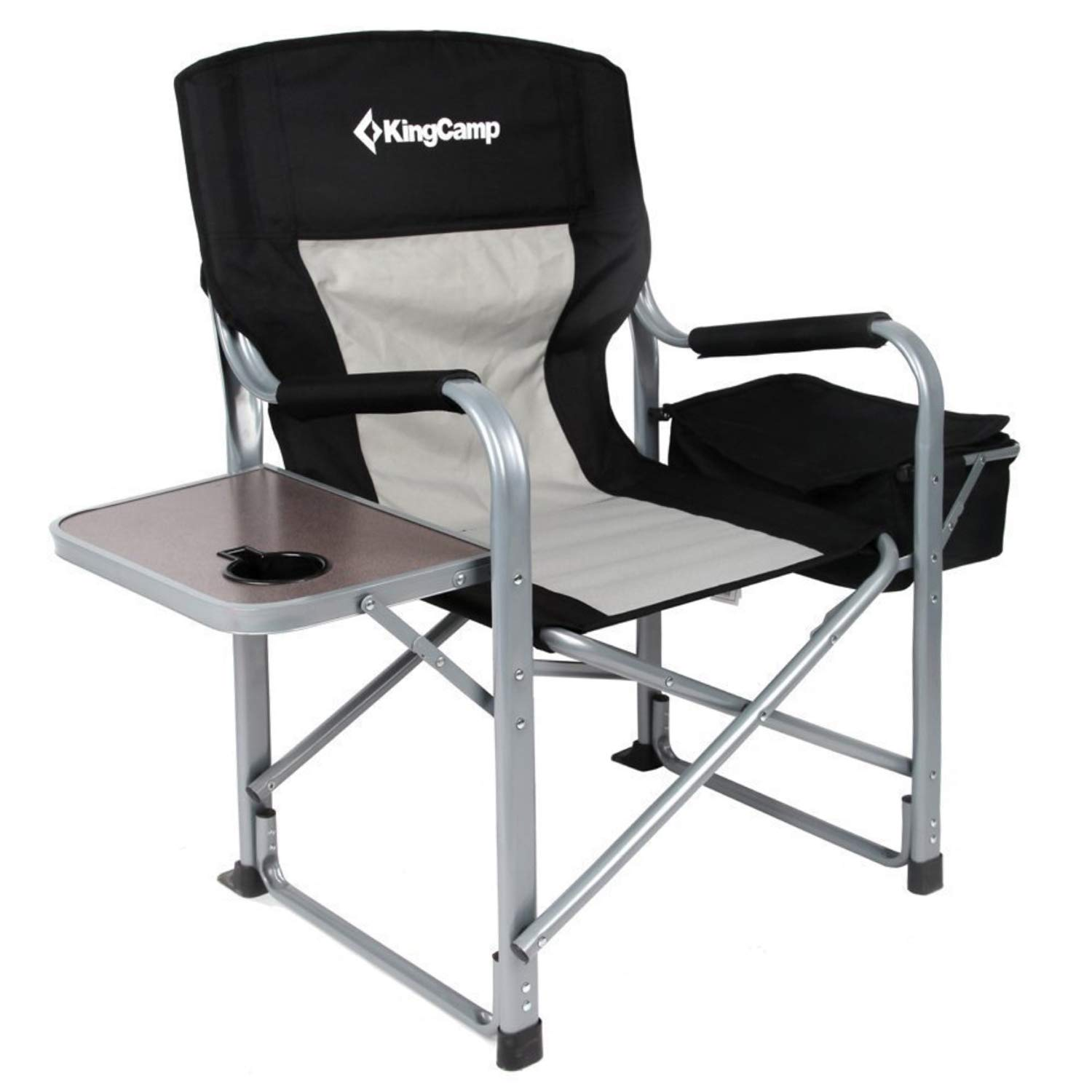 KingCamp Heavy Duty Steel Camping Folding Director Chair with Cooler Bag and Side Table by KingCamp