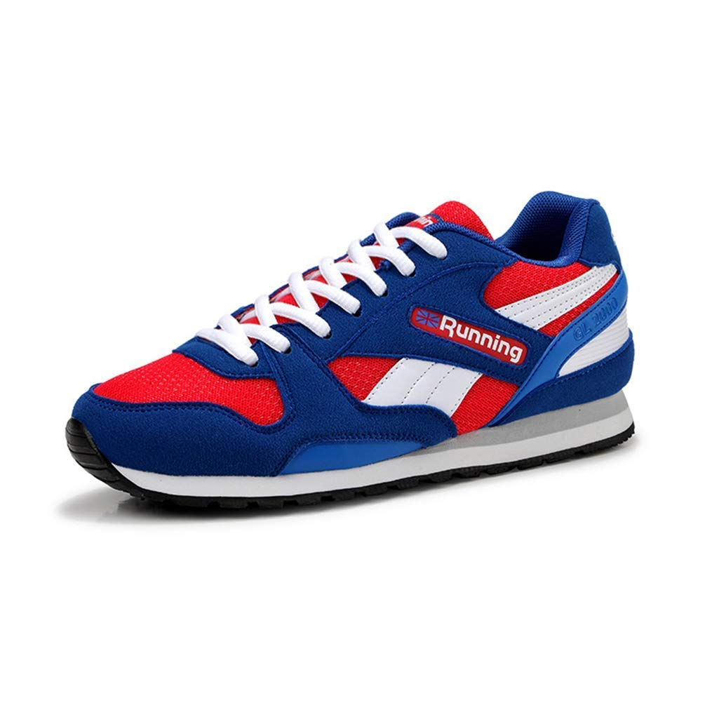 ZHRUI Männer Breathable Turnschuhe Laufschuhe Damen Athletic Sports schuhe Laufschuhe (Farbe   Blau rot, Größe   9.5 UK)