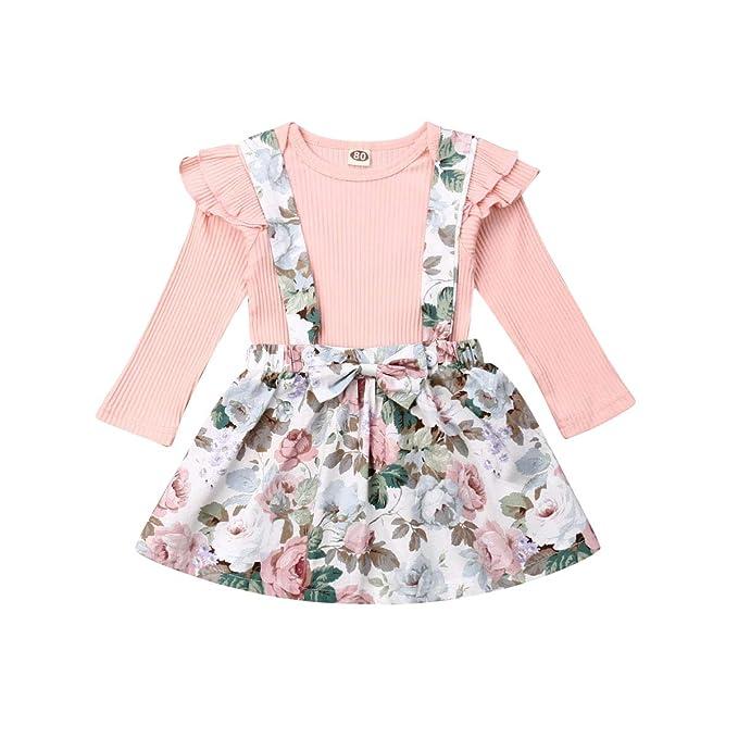 Conjunto de ropa para niñas y bebés, con volantes florales, falda ...