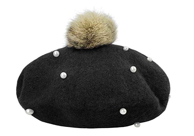 Image Unavailable. Image not available for. Color  Kids Girls Lovely Pompom  Beads French Beret Hat Artist Beanie ... 7325493e8c21