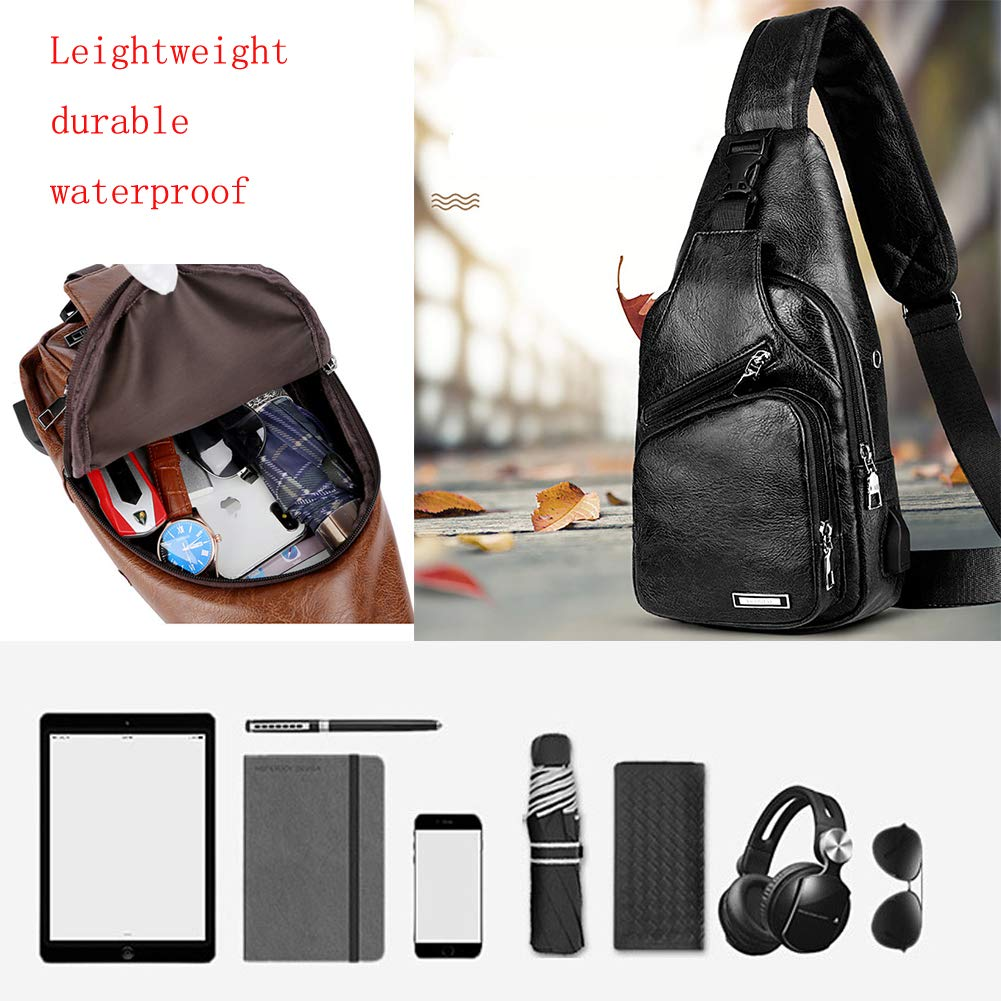 Sling Bag Men Chest Shoulder Backpack Crossbody Bag with USB Charging Port for Women Hiking Cycling Camping Daypacks (drak brown -3) by MeKaren (Image #6)