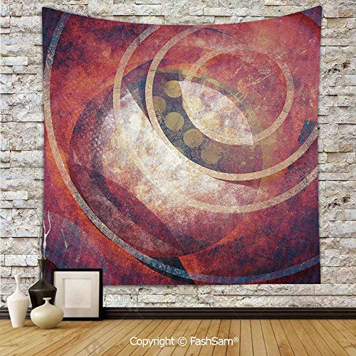 (Tapestry Wall Blanket Wall Decor Grunge Circles Ancient Aged Display Dynamic Artistic Old Fashioned Elements Decorative Home Decorations for Bedroom(W51xL59))