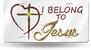 Jesus Christ Religious Christian Belong to Jesus Aluminum Novelty License Plate Vanity Tag Metal License Plates for Decorative Auto Car Front License Plate Cover - 6 X 12 Inch (4 Holes)