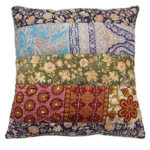 """Caso del amortiguador de mezcla de seda Decoración Patchwork Arte Kantha Stitch funda de almohada decorativa 17 Regalo pulgadas """""""