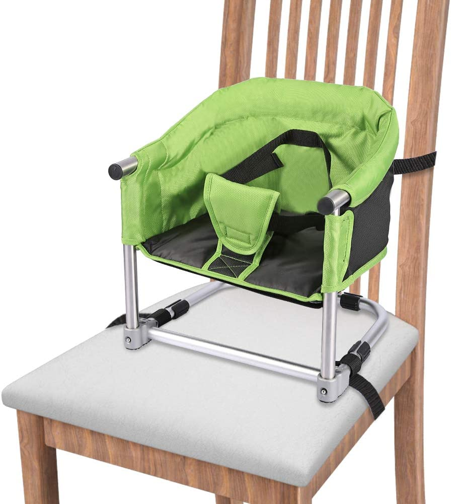 Portable Booster Seat, Booster Feeding Seat Folding Highchair for Home & Travel, Table High Chair with Transport Bag Green