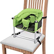Portable Booster Seat, Travel Booster Feeding Seat W/Carrying Bag, Folding High Chair for Home & Travel, Toddler Booster Chair Straps to Kitchen Dinner Table