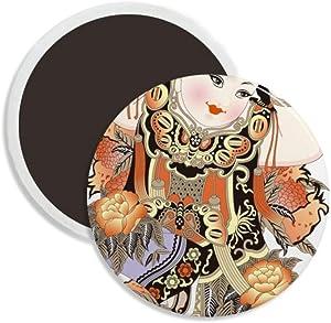 China Chinese New Year Picture Pattern Round Ceramics Fridge Magnet Keepsake Decoration