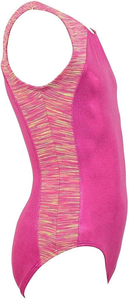 k-Bee Leotards Girls Strata Pink//Yellow Gymnastics Leotard