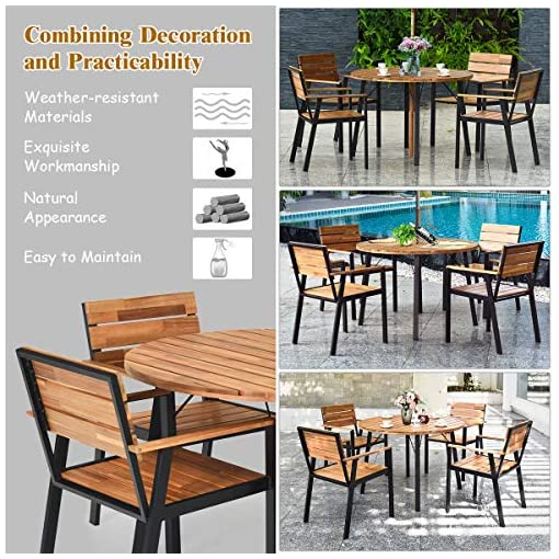 Garden and Outdoor Tangkula 5 PCS Outdoor Patio Dining Set with Umbrella Hole, Garden Dining Furniture w/Round Table & 4 Stacking Armchairs… patio dining sets