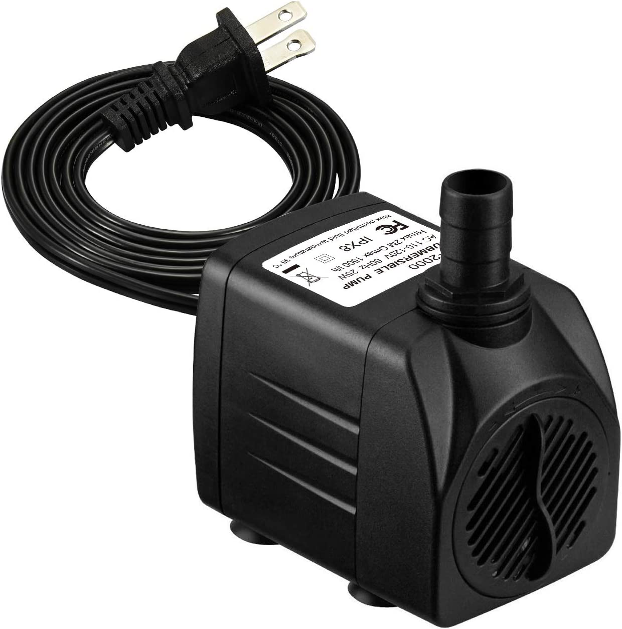 Homasy Upgraded 400GPH Submersible Water Pump with 36 Hours Dry Burning, 25W Fountain Water Pump with 5.6ft Power Cord for Aquarium, Pond, Fish Tank, Water Pump Hydroponics