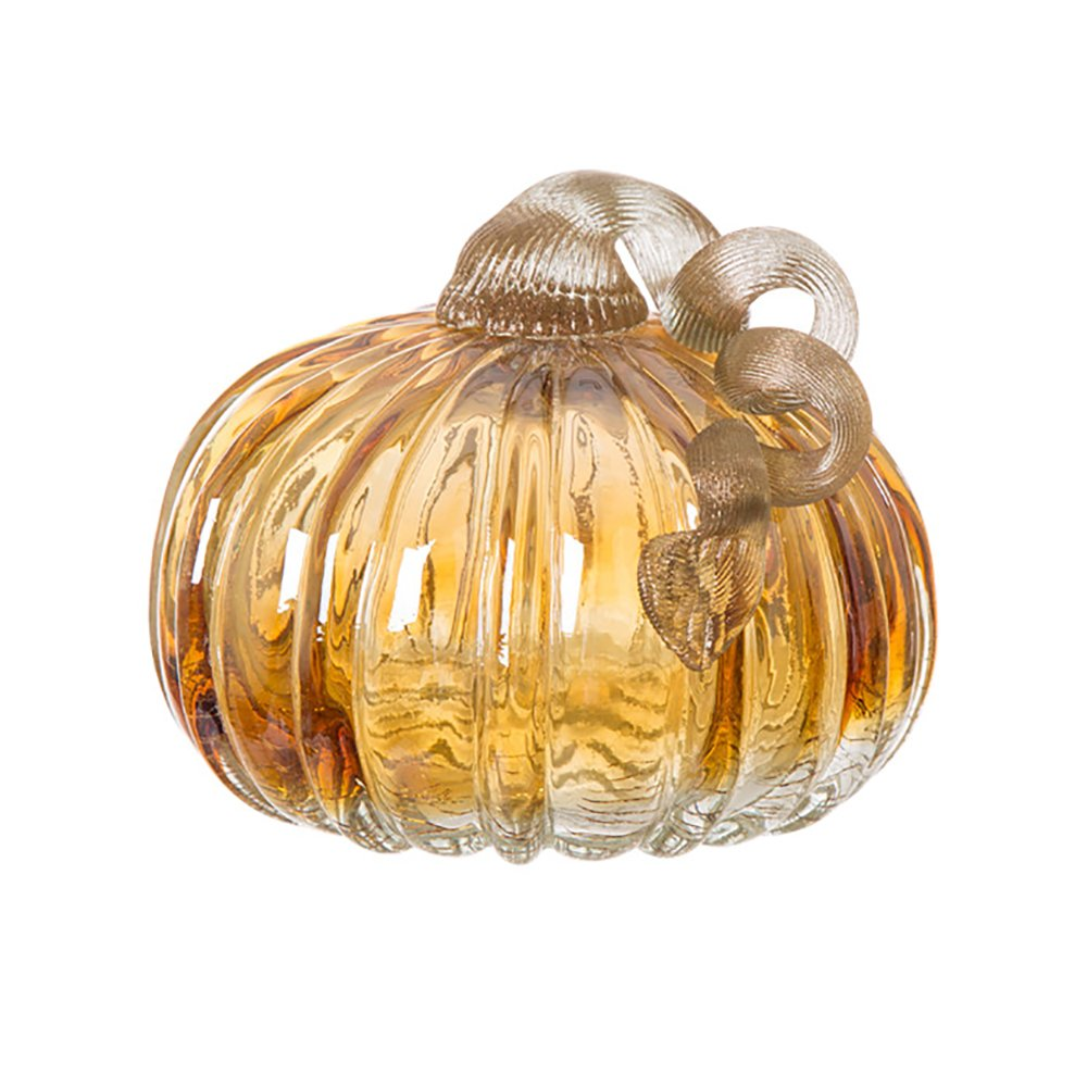 Glitzhome 4.72 Inch Hand Blown Amber Two-tone Crackle Glass Pumpkin Table Accent