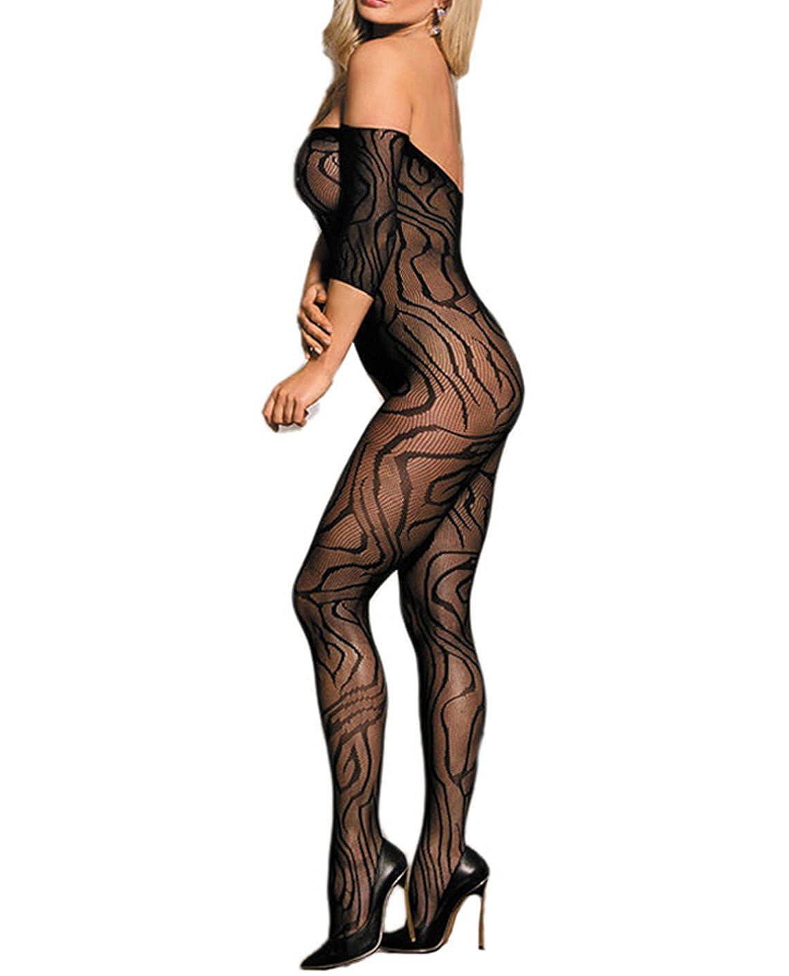 7b49924d2e8 Amazon.com  Lookswe Fishnet Bodystockings Women Short Sleeve Strapless  Lingerie Body Stockings S-XXL  Clothing