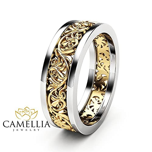 Filigree Wedding Band.Amazon Com Unique Filigree Wedding Band 14k Two Tone Gold Ring
