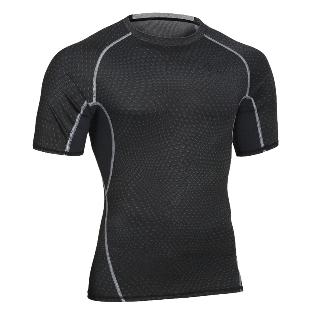 Yiiquan Herren Kurzarm Kompressions Shirt Fitness T-Shirt Schnell Trocknend Sport Funktionsshirt