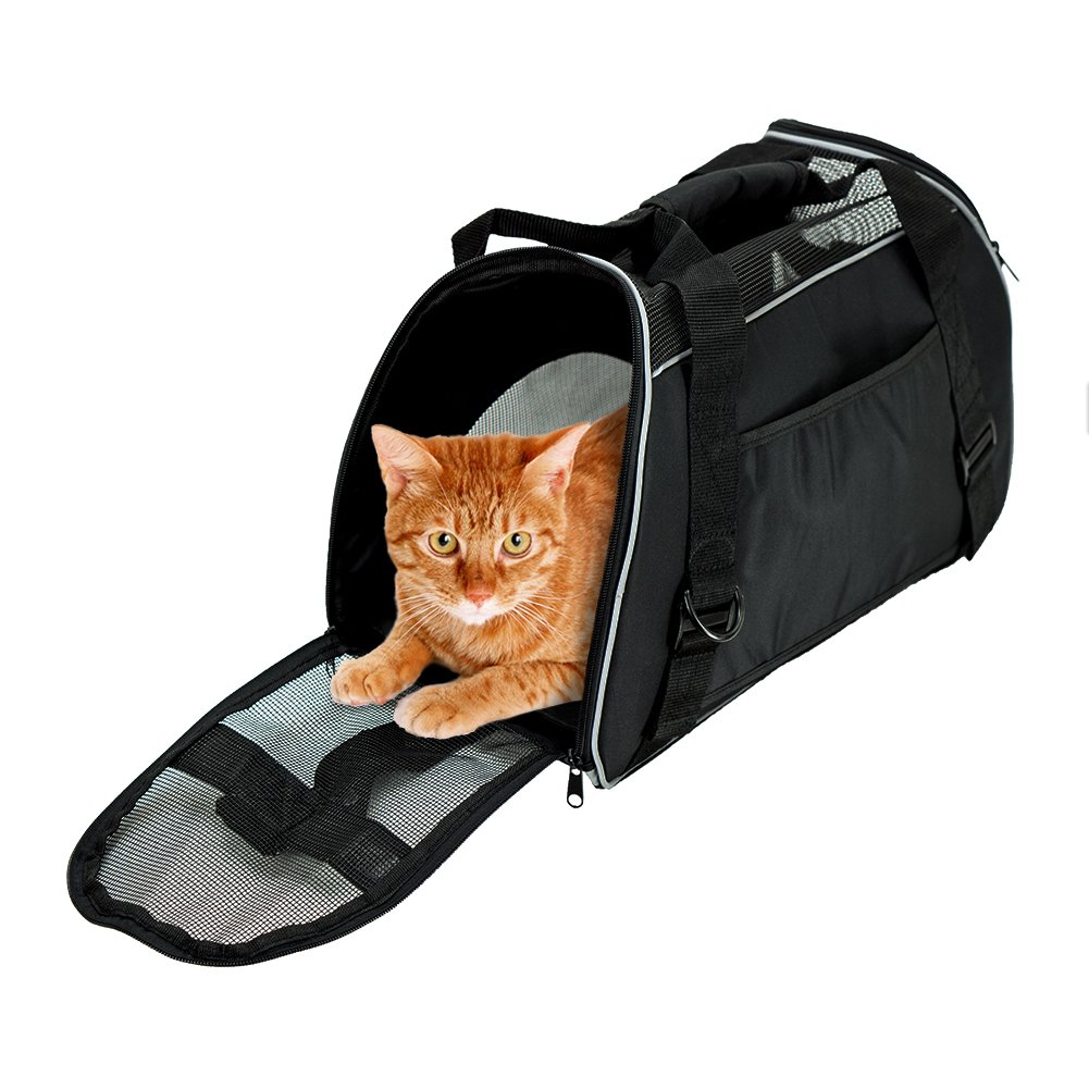 Soft Side Pet Carrier Travel Bag Small Dogs Cats Airline Approved Under Seat Black