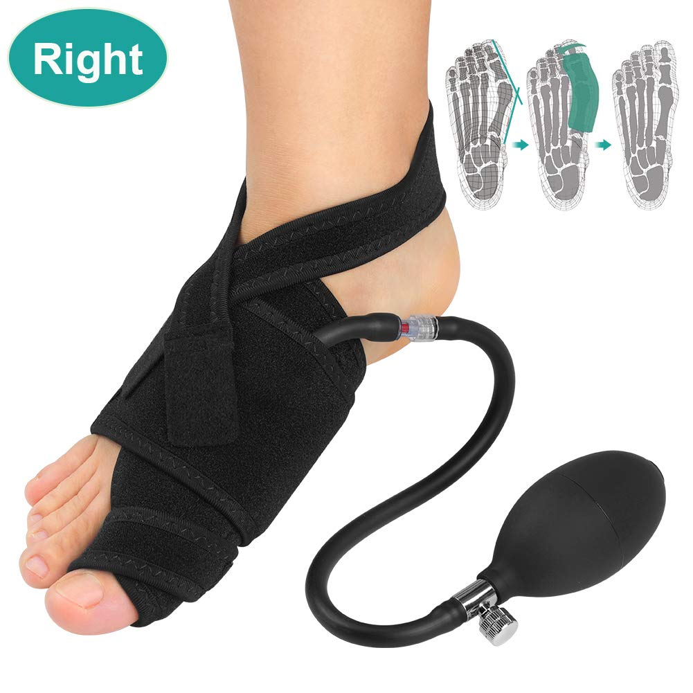 Inflatable Bunion Corrector Big Toe Straightener with Pneumatic Orthopedic Support, Hallux Valgus Splint with Bar for Night Pain Relief, Hammer Toe Strength, Bunion Surgery Recover (Right) by VINGVO