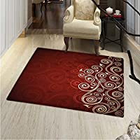 Burgundy Print Area Rug Floral Flower Swirl Ivy Image Ombre Details Grunge Backdrop Artwork Perfect Any Room, Floor Carpet 4x6 White Ruby Red