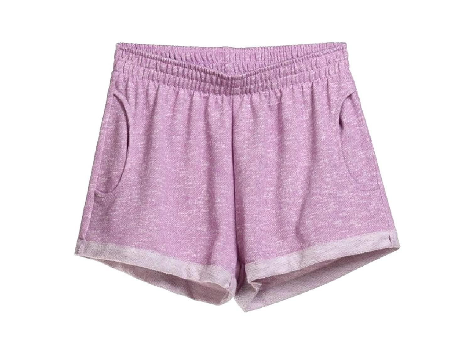 Abetteric Women Thin Summer Hot Pants Sleep Pant Yoga Soft Cozy Crimping Gym Shorts Light Purple M