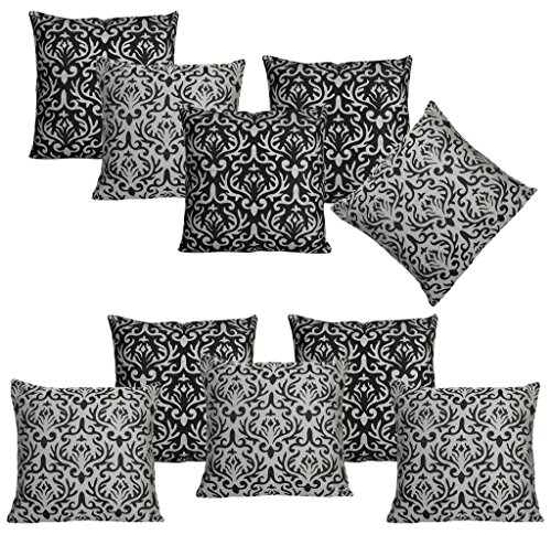 Dekor World Golden Printed Combo. Cushion Cover  Pack of 10
