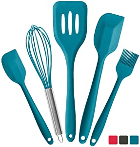 StarPack Premium Silicone Kitchen Utensils Set (5 Piece) - High Heat Resistant to 600°F, Hygienic One Piece Design Large and Small Spatulas, Whisk & Basting Brush (Teal Blue)