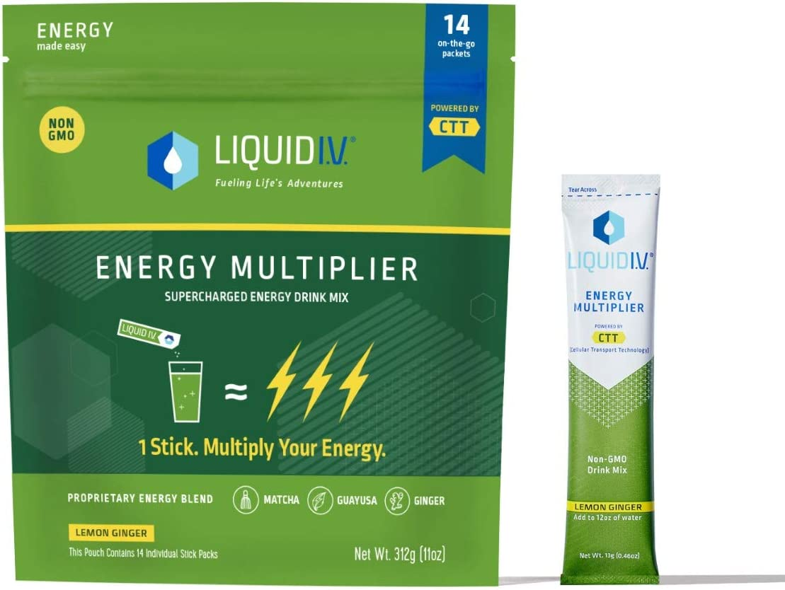 Liquid I.V. Energy Multiplier, Super-Charged Matcha Mix, 9 Essential Vitamins, Natural Caffeine, Easy Open Packets, Supplement Drink Mix, (Lemon Ginger) (14 Count): Health & Personal Care