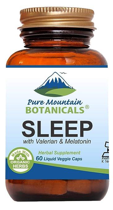 Natural Sleep Aid with Organic Valerian, Chamomile, Passion Flower,  Skullcap, Melatonin, Hops &