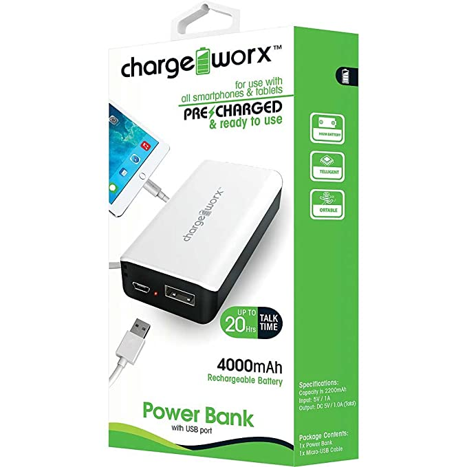 Amazon.com: Charge Worx 4000mAh Power Bank USB Port Rechargeable Battery Pack (Black): Cell Phones & Accessories