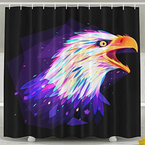 HVSAA Custom Waterproof Bathroom Watercolor Hawk Bald Eagle Shower Curtain Polyester Fabric Size 60