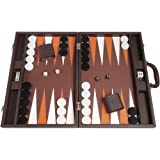 Silverman & Co Backgammon Set, 19-Inch, Large, Dark Brown Board