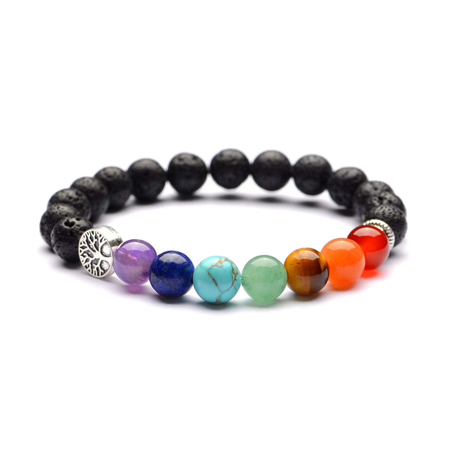 8mm Lava Rock Beads Bracelet Elastic Natural Stone Chakra Yoga Bracelet Bangle LoveBIG CA0004