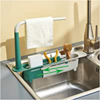 SHUNTING Kitchen Telescopic Sink Storage Rack 3 in 1, With Towel Bar Expandable Storage Drainage Non-Slip Box Rack…
