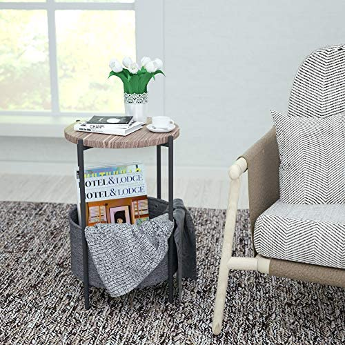 SHA CERLIN Sofa Side End Tables for Small Spaces, Accent Furniture with Metal Frame, Stable and Sturdy Construction, Nightstands,Rustic Grey