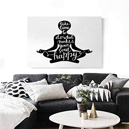 Amazon.com: homehot Yoga Canvas Wall Art Black Silhouette ...