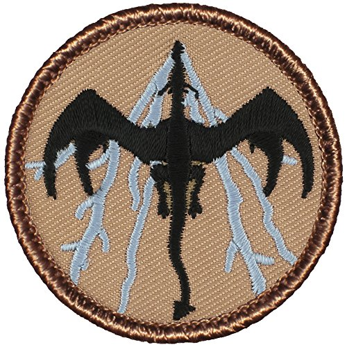 "Black & Blue Lightning Dragon Patrol Patch - 2"" Diameter Rou"