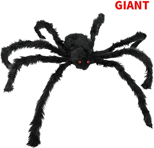 Black BELANT 6.6FT Giant Hairy Spider Halloween Decorations Scary Outdoor Yard Decor