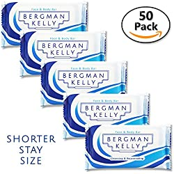 BERGMAN KELLY Bar Soap Travel Amenities Hotel Toiletries In Bulk Guest Size Bars Individually Wrapped (Short Stay 0.5 Oz 50 Pack)