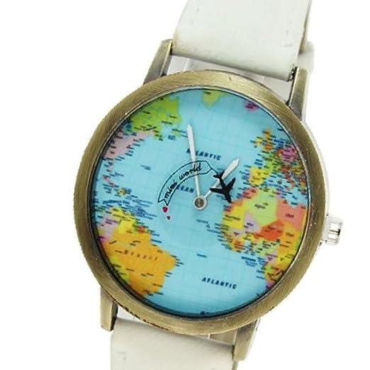 Amazon.com: 2016 World Map Watches Women Men Denim Fabric Watch Quartz Relojes Mujer Relogio Feminino Gift White: Watches