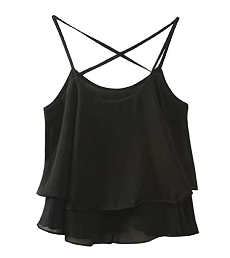 c7dfed896978 Summer Women's Flowy Vintage Floral Print Chiffon Shirt Vest Strap Top  (Black ...