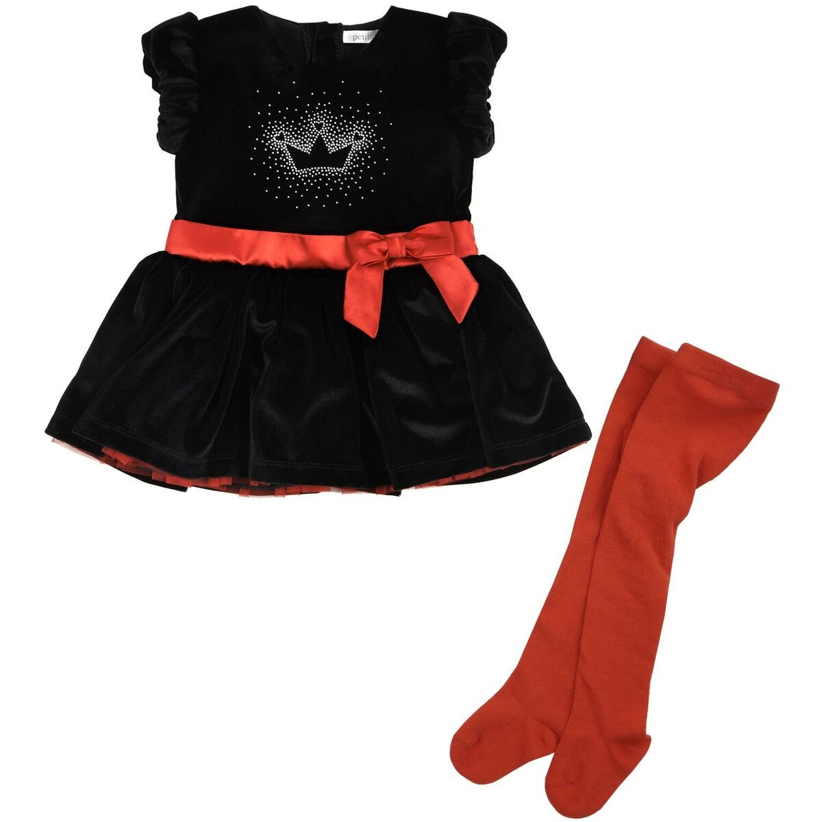 Petit Lem Girls' Baby Holiday Tiara Print and Ruffle Party Dress with a Bow Belt and Tights, 6 Months by Petit Lem