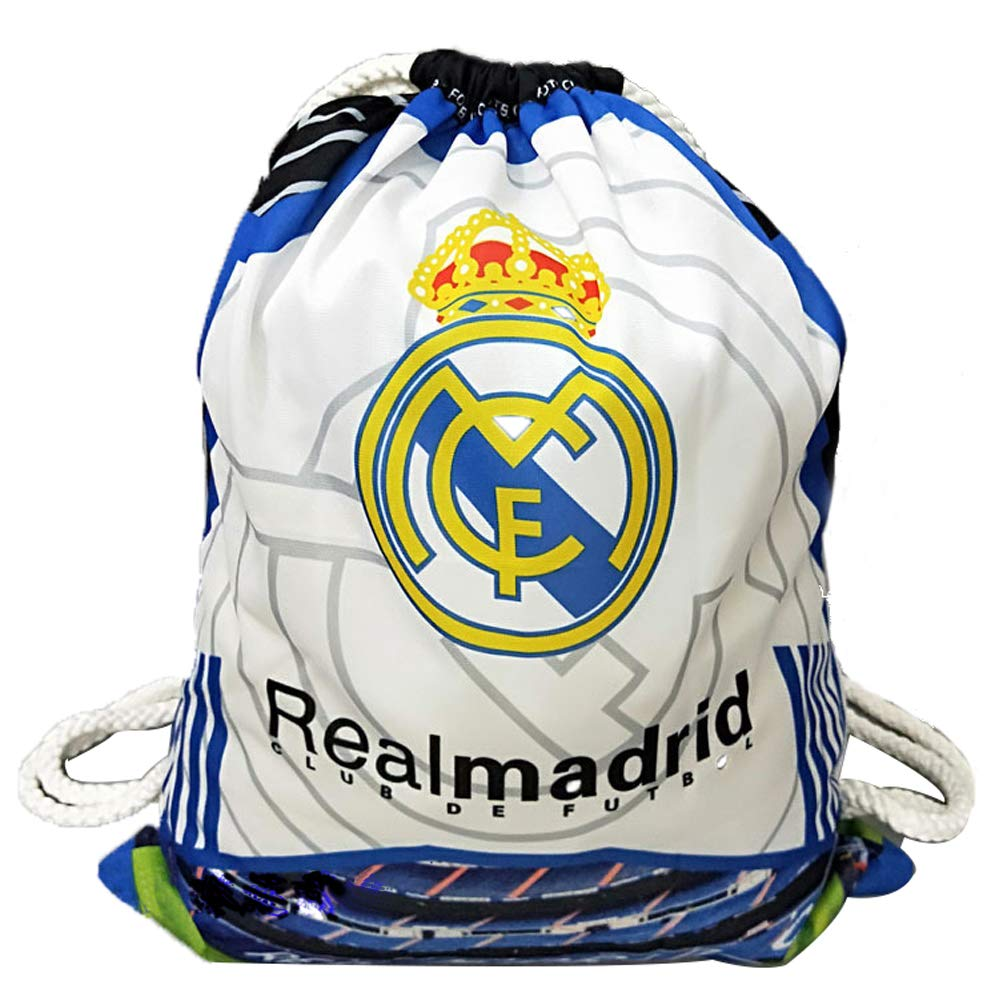 15bf5f8cbc0 Amazon.com   Real Madrid Football Clubs Swerve Gym Bag Soccer Drawstring  Backpack Drawstring Sport Bag   Sports   Outdoors