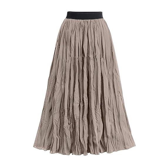 Qijinlook 💖/Falda largas Tul Mujer/Falda Plisada Vintage ...
